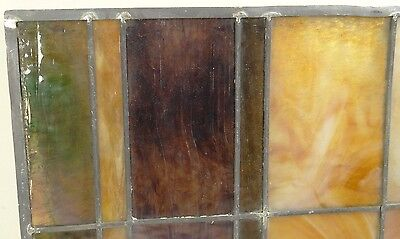 GEOMETRIC RECTANGULAR LEADED-STAINED GLASS WINDOW~HEAVY OBSCURITY~Art Deco 22x15 7