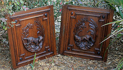 Antique French Oak Black Forest FOX Architectural Hanging Wall Panel Door #1 6