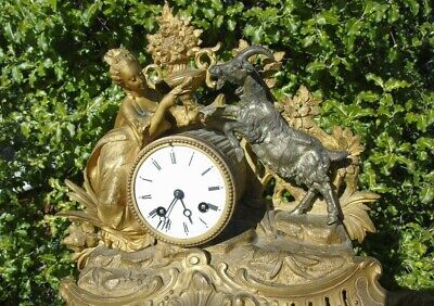 Antique Classical Mantel Clock Japy Freres  D Honneur Gilt Goat  French Art Girl 3