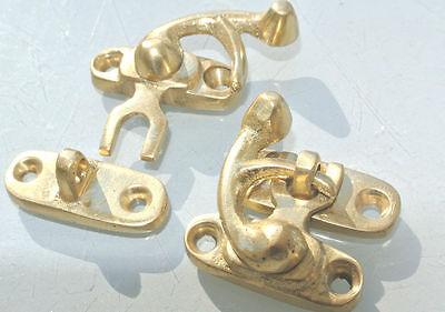 8 Nice tiny small box Latch catch solid brass POLISHED 3cm doors trinket B 4