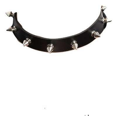 Black Metal Spike Stud Collar Faux Leather Choker Necklace BDSM Goth Fetish UK 2