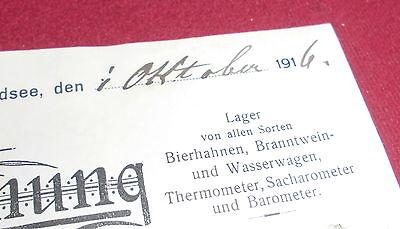 rechnung alt antik ferd. merk waldsee glaserei tafelglas handlung   1916 papier 2