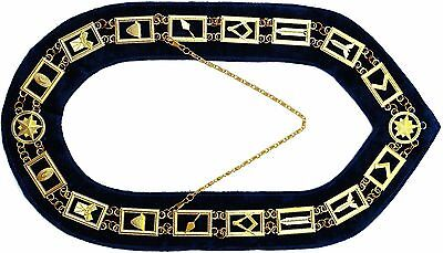 Masonic Collar Regalia MASTER MASON PURPLE BACKING GOLD PLATED CHAIN DMR-400GP