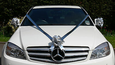 SILVER WEDDING CAR Decoration Kit Large Bows & 7m Ribbon FAST ...