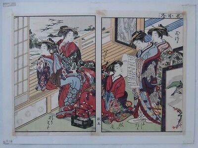 Japanese Prostitutes Woodblock Print Artists Shigemasa & Shunsho Makeup Scroll 2