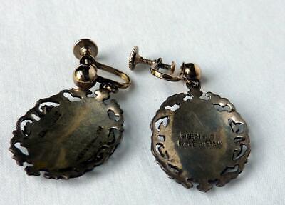 LOT Vintage 1930s Siam Sterling Thai Nakon Dancers Niello 2 Pins+3 Pair Earrings 5