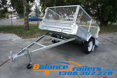 7x5 HOT DIP GALVANISED FULL WELDED TIPPER BOX TRAILER WITH 600MM REMOVABLE CAGE 10