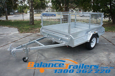7x5 HOT DIP GALVANISED FULL WELDED TIPPER BOX TRAILER WITH 600MM REMOVABLE CAGE 3