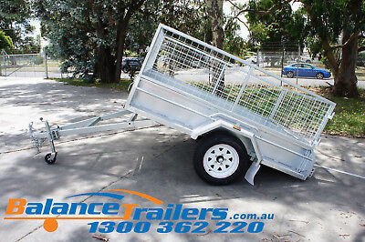 7x5 HOT DIP GALVANISED FULL WELDED TIPPER BOX TRAILER WITH 600MM REMOVABLE CAGE 9