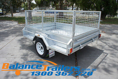 7x5 HOT DIP GALVANISED FULL WELDED TIPPER BOX TRAILER WITH 600MM REMOVABLE CAGE 8