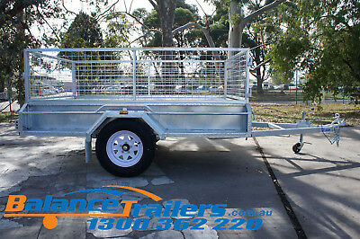 7x5 Hot Dip Galvanised Fully Welded Tipper Box Trailer With 600mm Removable Cage 7
