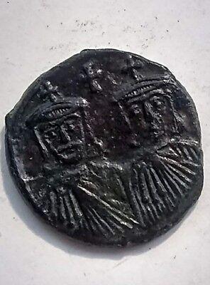 Rare ORIGINAL ancient BYZANTINE coin Reduced follis CONSTANTINE V 751AD Leo III 2