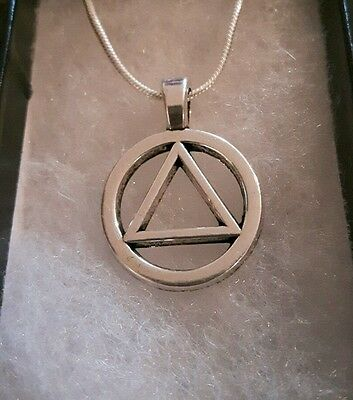 Alcoholics Anonymous Symbol Sobriety Necklace Sterling Silver Aa Na