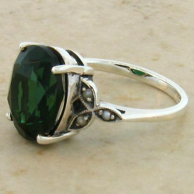 5 Ct. Sim. Emerald Pearl Antique Victorian Design .925 Sterling Silver Ring,#535 2