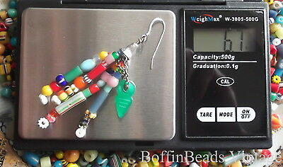 Antique tassel EARRINGS Venetian Bohemian vintage beads LONG .925 colourful Afro 8