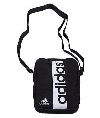 ... adidas Mens Linear Performance Organiser Shoulder Small Messenger Bag  Black Blue 6 0fbdf3446c592