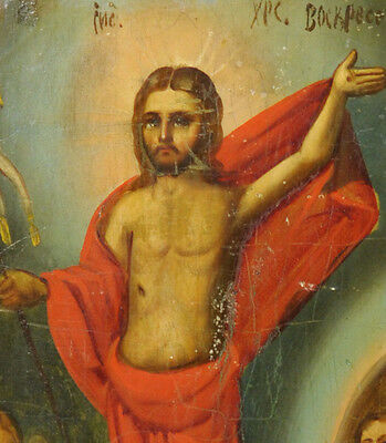 c.1890 ANTIQUE RUSSIAN RELIGIOUS ART ICON ORTHODOX RESURRECTION OF JESUS CHRIST