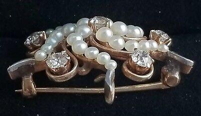 Art Nouveau .70 tcw Diamond Pearl 14k Yellow Gold Starburst Brooch Watch Pin
