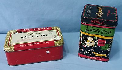 Vintage Advertising Tins Lithograph Epicure Fruit Cake And Barton's Almond Kiss 2