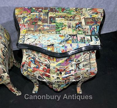 Pair Chest Drawers Comic Print Bedside Chests Tables Nightstands 4