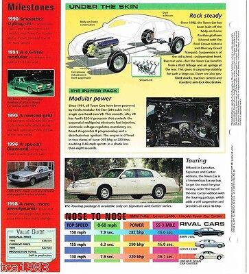 1998 1999 Lincoln Town Car Spec Sheet Brochure Cartier Edition