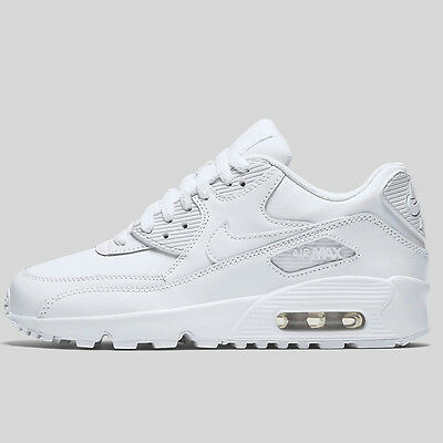 promo code b7b27 186b0 ... Nike Air Max 90 Ltr 833412-100 Gs Youth All White Leather Premium Boys  Retro