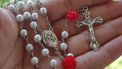 Catholic White Pearl Beads Rosary Necklace Red Our Rose Holy Soil Medal Cross 4