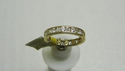 14K Yellow Gold Channel Set Baguette/Round Cubic Zirconia Ring Size 8 G32-R 5