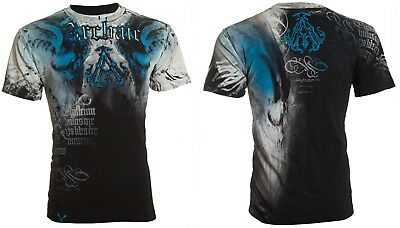 ARCHAIC by AFFLICTION Mens T-Shirt NIGHTWATCHER Skulls BLACK BLUE Biker UFC $40 3