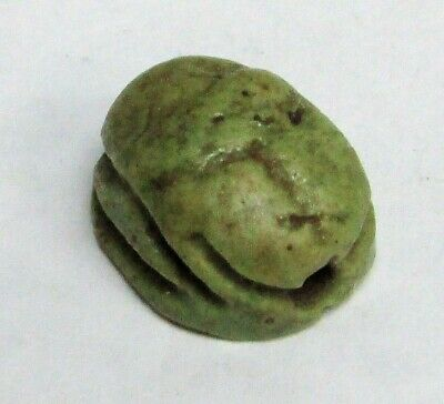 ca. 1550 -1000 BC EGYPTIAN EMPIRE GREEN FAIENCE SCARAB SEAL AMULET PENDANT 5