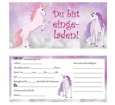 1 Von 5Kostenloser Versand 8 Einladungskarten +Umschlag Einhorn Einladung  Geburtstag Kindergeburtstag Pferd