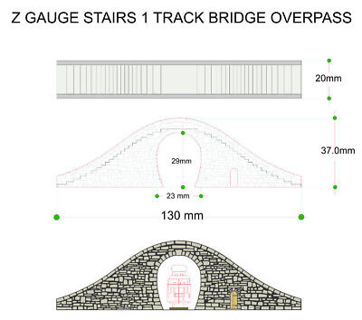 1/220 Z Gauge Hump Stair Overpass Bridge  With Door Laser Cut Engraved Painted 3