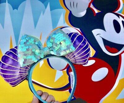 Disney Parks The Little Mermaid Ariel Sequin Iridescent Seashell Ears Headband 9