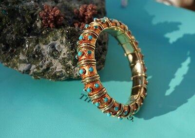 661454db1 ... Tiffany & Co Schlumberger 18k Gold, Turquoise, Orange Enamel Croisillon  Bracelet 4