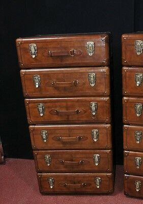 Pair Leather English Campaign Chest Drawers Colonial Tall Boys Luggage 7