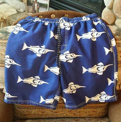 Mens Blue Sailfish Marlin Swordfish Palm Tree Board Shorts Swim Trunks