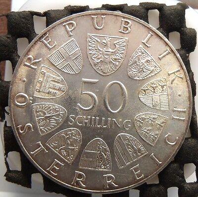 1973 Austria Silver 50 Schilling 100th Annv. Birth of Dr. Theodor Korner KM#2917