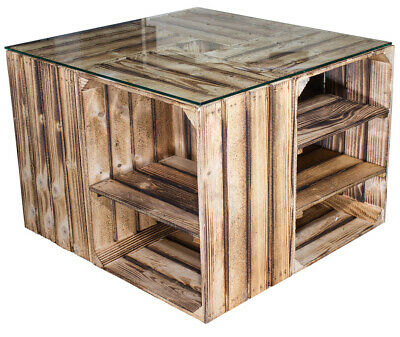 Palettenmöbel Kistentisch Apfelkisten Vintage Flambiert 81x81x41cm ohne Glas