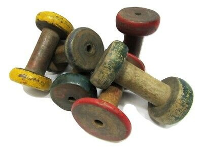"Lot of 6 Antique Vintage 3"" Painted Wooden Industrial Textile Bobbins Spools 3"