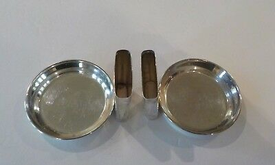 Pair Vintage Sterling Silver Individual Ashtrays with Match Holder 6