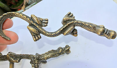 "2 Handles door DRAGON solid BRASS old style vintage L& R drawer PULLS 6"" pair B 3"