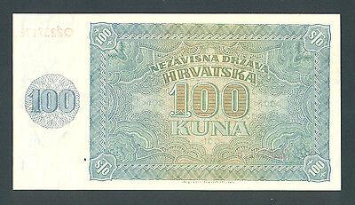 100 Kuna Croatia WWII 1941 P-2 Scarce in UNC