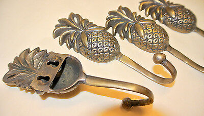4 small PINEAPPLE 100% brass HOOK COAT WALL MOUNT HANG TROPICAL Old style hook B 4