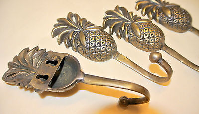 8 small PINEAPPLE BRASS HOOK COAT WALL MOUNTED HANG TROPICAL VINTAGE style hookB 6