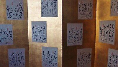 ANTIQUE POETRY CALLIGRAPHY FOLDING SCREEN Edo Byobu Negoro Lacquer Japanese Waka