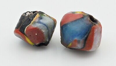 Stunning Phoenician Style Pair Of Antique Blue Yellow Face Islamic Glass beads 3