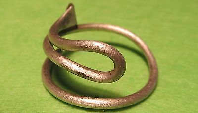 Scythian-Sarmatia Silver Old Ring Crimped Temporal 7-3 th Century BC 2.6 grams