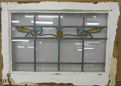 "MID SIZED OLD ENGLISH LEADED STAINED GLASS WINDOW Nice Floral Band 24"" x 17.25"" 2"