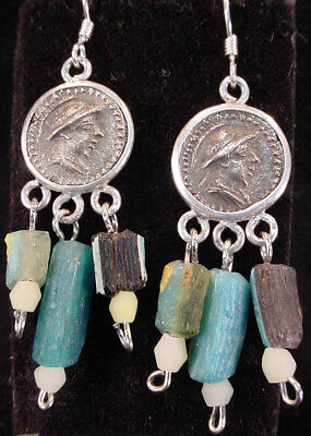 A pair of earrings with central Bactrian empire silver coated copper coin. e3972 2