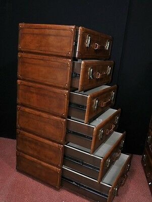 Pair Leather English Campaign Chest Drawers Colonial Tall Boys Luggage 5